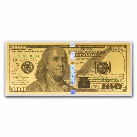 1 gram Gold Note - $100 Replica (Benjamin Franklin Design, 24K)