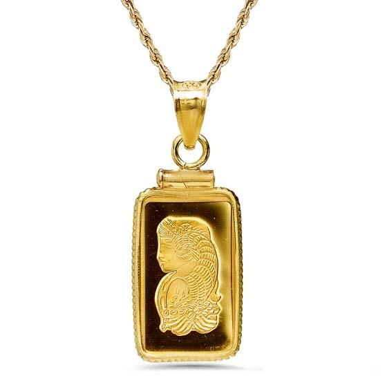 1 gram Gold Pendant - PAMP Suisse Fortuna (w/Chain)
