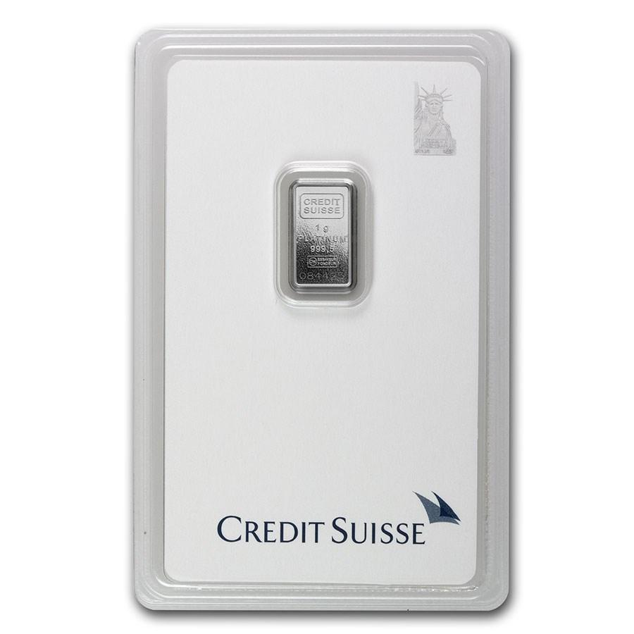1 gram Platinum Bar - Credit Suisse (In Assay)