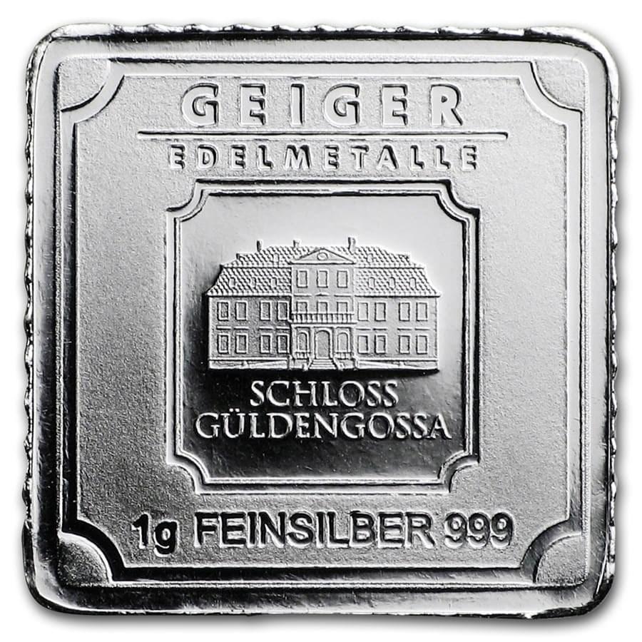 1 gram Silver Bar - Geiger Edelmetalle (Original Square Series)