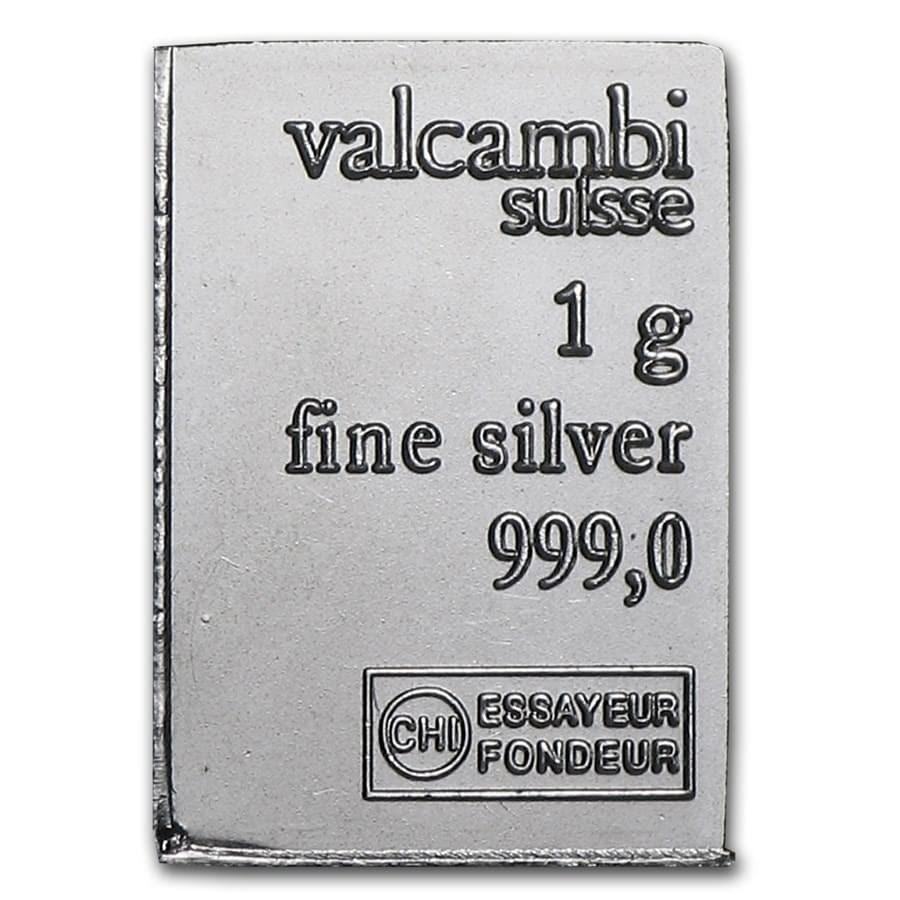 1 gram Silver Bar - Valcambi