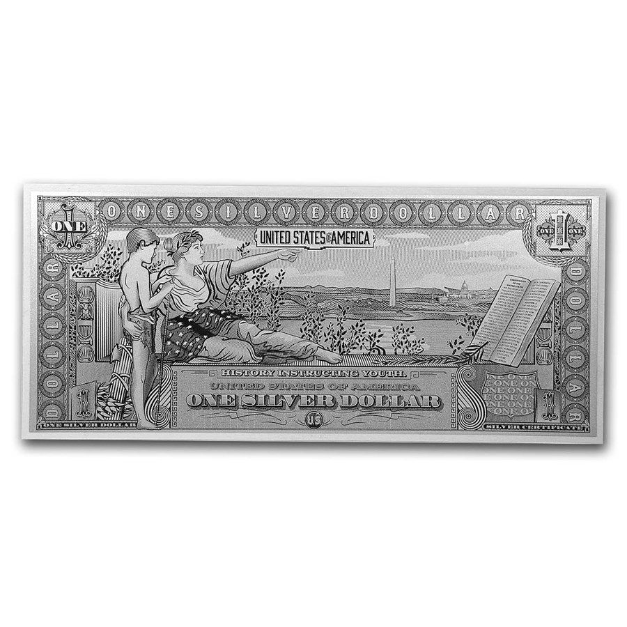 1 gram Silver Foil Note - $1 Educational Note