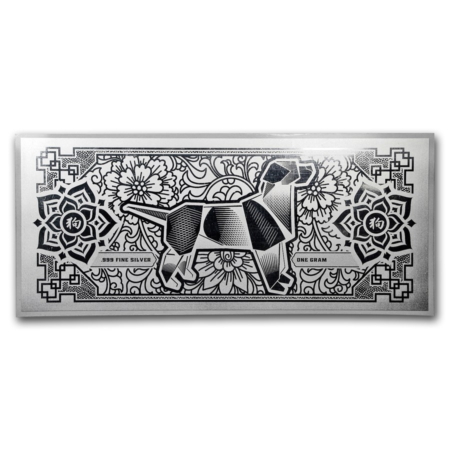 1 gram Silver Foil Note - APMEX 2018 Year of the Dog