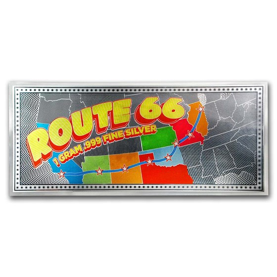 1 gram Silver Foil Note - Route 66 (Colorized Map)