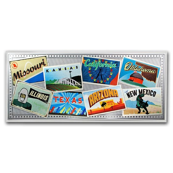 1 gram Silver Foil Note - Route 66 (Colorized Postcards)