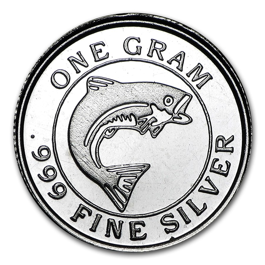 1 gram Silver Round - Salmon Fish
