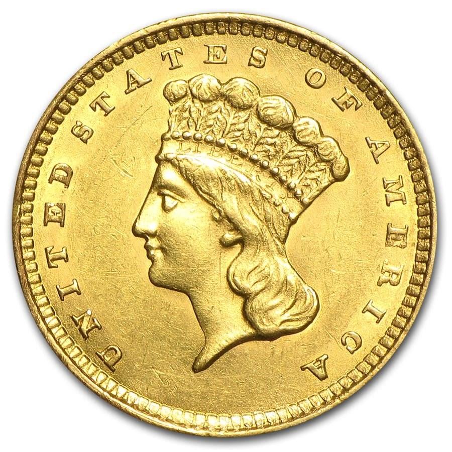 $1 Indian Head Gold Dollar Type 3 AU (Random Year)