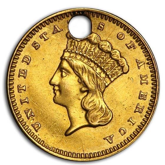$1 Indian Head Gold Dollar Type 3 (Damaged)
