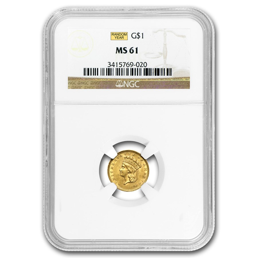 $1 Indian Head Gold Dollar Type 3 MS-61 NGC/PCGS