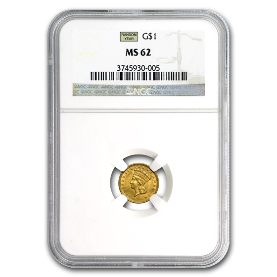 $1 Indian Head Gold Dollar Type 3 MS-62 NGC/PCGS