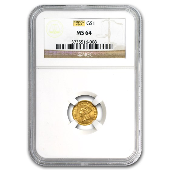 $1 Indian Head Gold Dollar Type 3 MS-64 NGC/PCGS