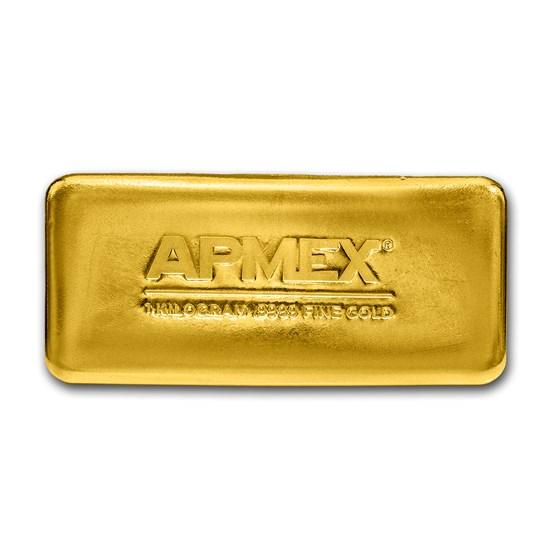 1 kilo Cast-Poured Gold Bar - APMEX