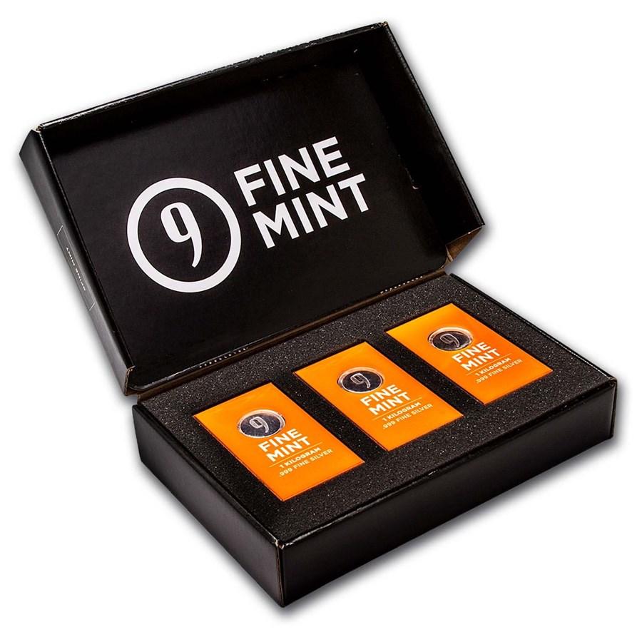 1 kilo Cast-Poured Silver Bar - 9Fine Mint (3 pc. Multi-Pak)