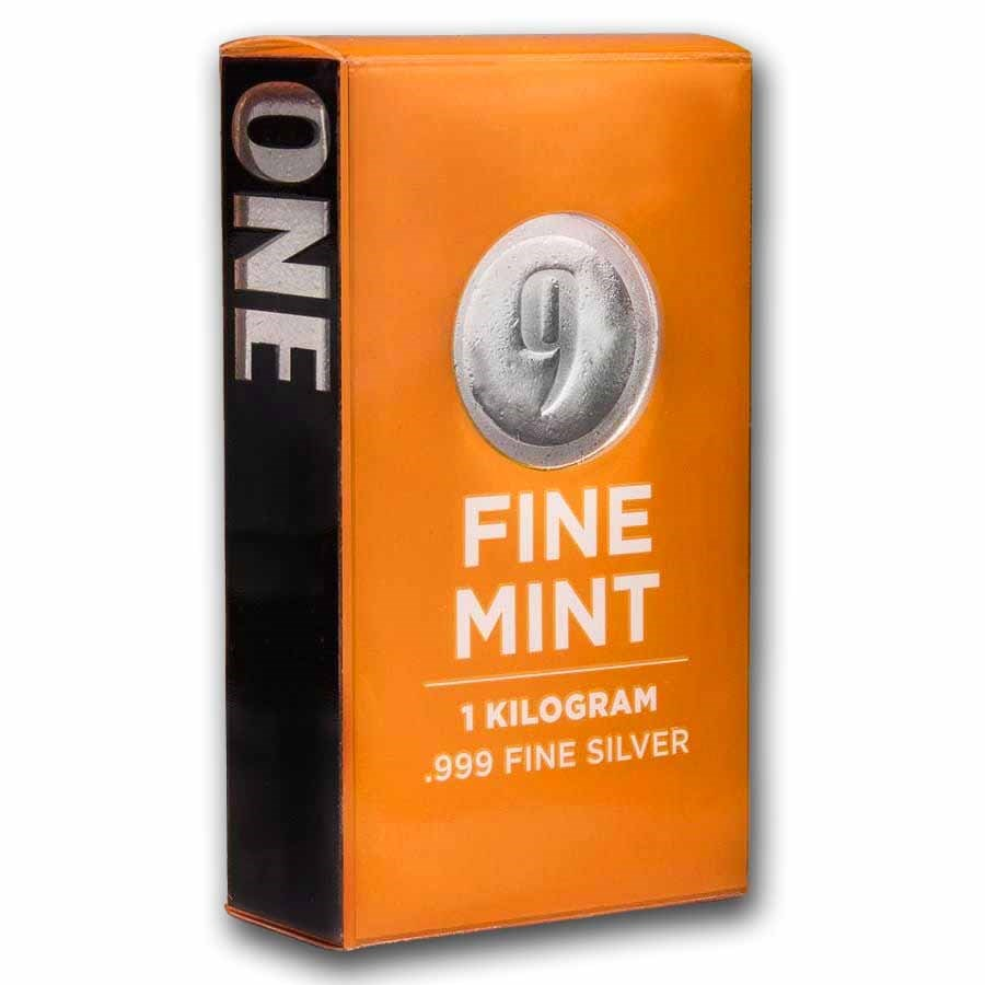 1 kilo Cast-Poured Silver Bar - 9Fine Mint