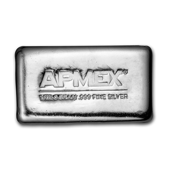 1 kilo Cast-Poured Silver Bar - APMEX