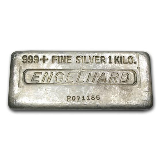 1 kilo Cast-Poured Silver Bar - Engelhard