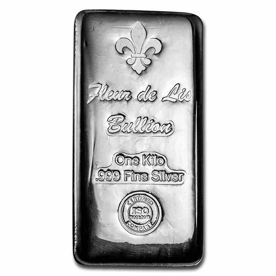 1 kilo Cast-Poured Silver Bar - Fleur de Lis Bullion