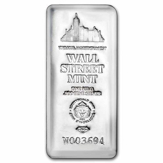 1 Kilo Cast-Poured Silver Bar - Wall Street Mint (Serialized)