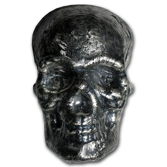 1 kilo Hand Poured Silver Skull - Antique Finish