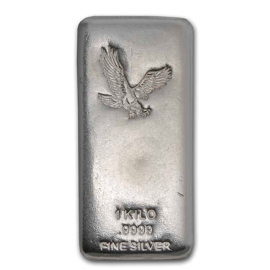 1 kilo Silver Bar - American Bald Eagle