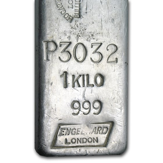 1 kilo Silver Bar - Engelhard (Mocatta Metals/London)