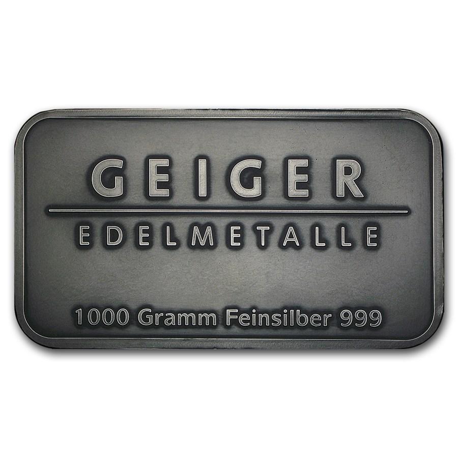 1 kilo Silver Bar - Geiger (Antique Finish/1,000 Gram)