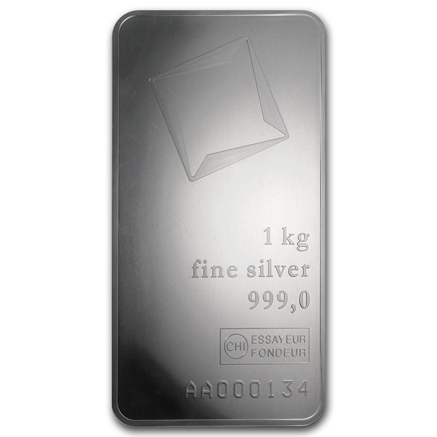 1 kilo Silver Bar - Valcambi (w/Assay, Mirror Finish)