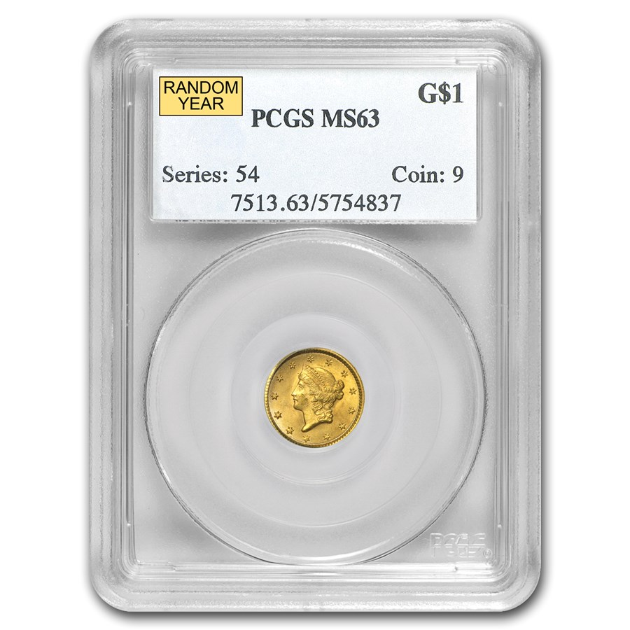 $1 Liberty Head Gold Dollar Type 1 MS-63 NGC/PCGS