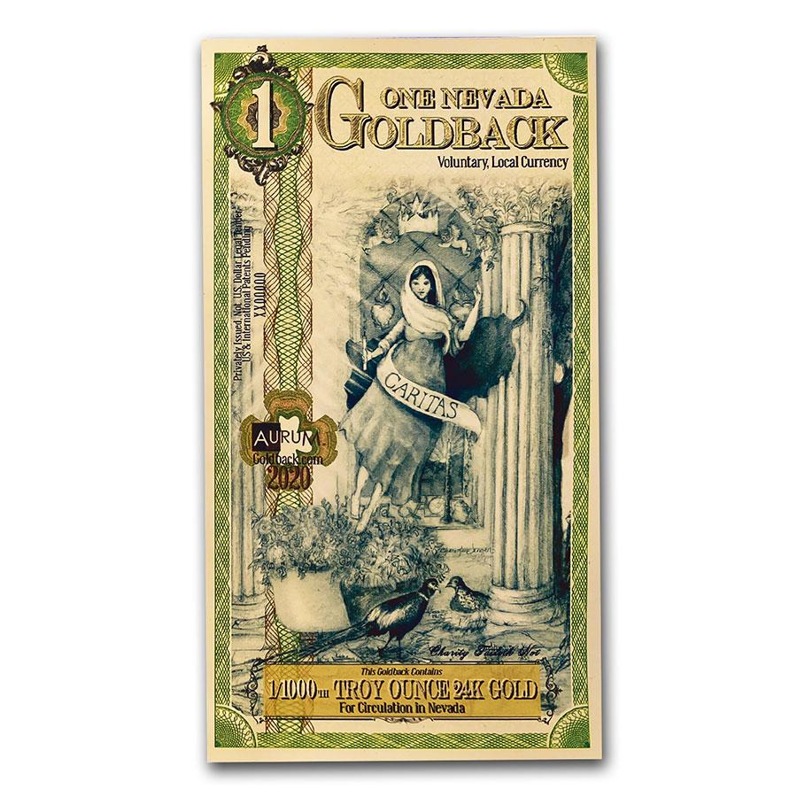 Aurum Gold Foil Note 24KT 50 Nevada Goldback BU Brilliant Uncirculated