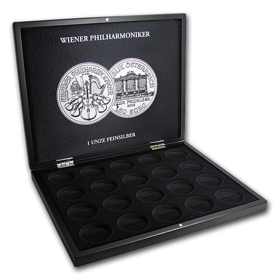 1 oz Austrian Silver Philharmonic 20-Piece Black Presentation Box