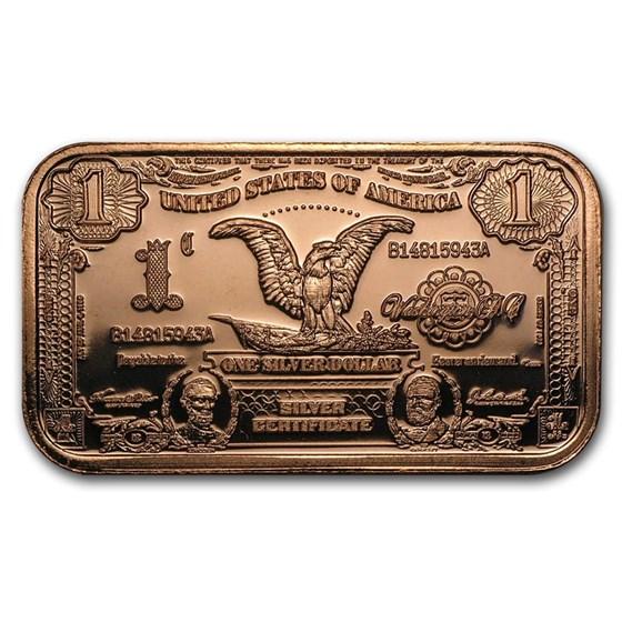 1 oz Copper Bar - $1.00 Eagle Silver Certificate Replica