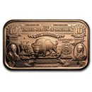 1 oz Copper Bar - $10 Bison Banknote Replica