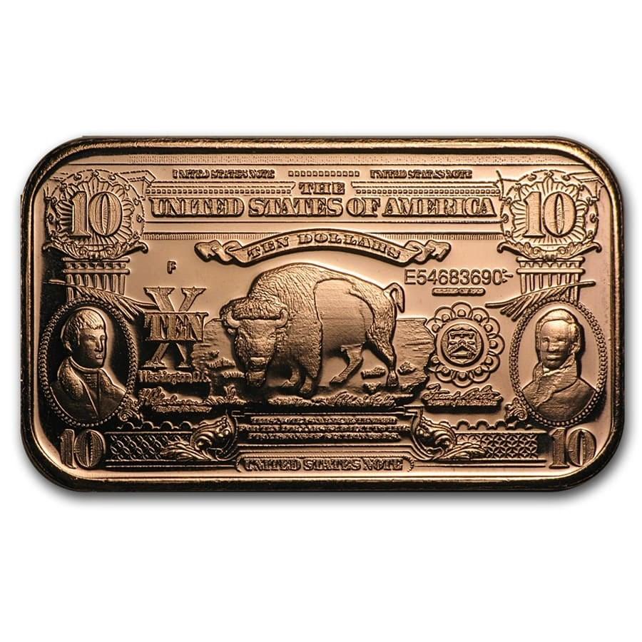 1 oz Copper Bar - $10 Bison Banknote Replica