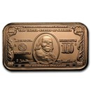 1 oz Copper Bar - $100 Benjamin Franklin Banknote Replica