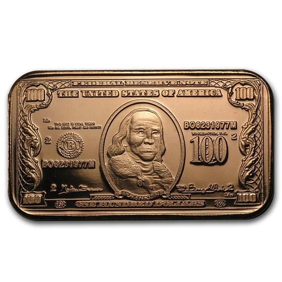 1 oz Copper Bar - $100 Benjamin Franklin Banknote Replica