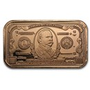 1 oz Copper Bar - $1000 Grover Cleveland Banknote Replica