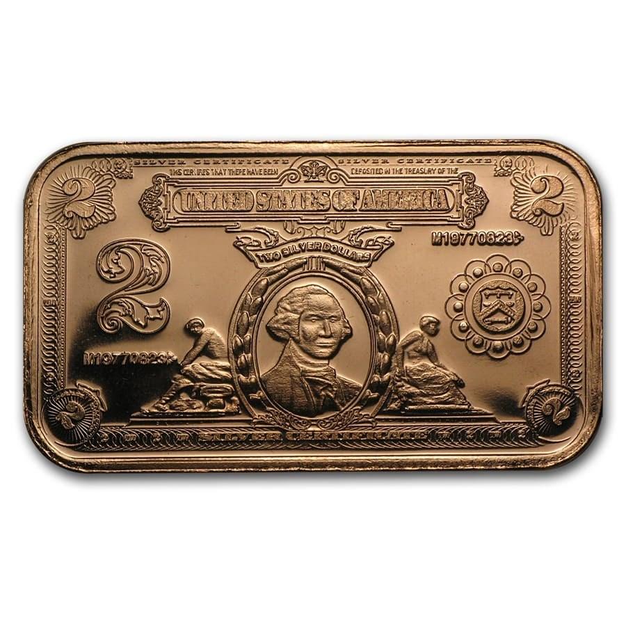 1 oz Copper Bar - $2.00 Washington Silver Certificate Replica
