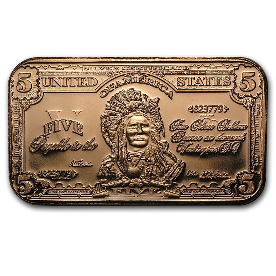 1 oz Copper Bar - $5.00 Indian Chief Banknote Replica