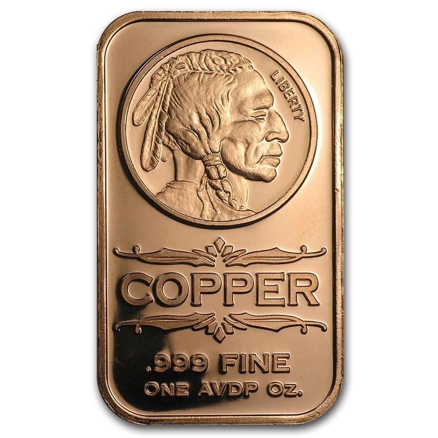 1 oz Copper Bar - Indian Head