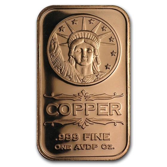 1 oz Copper Bar - Liberty Head