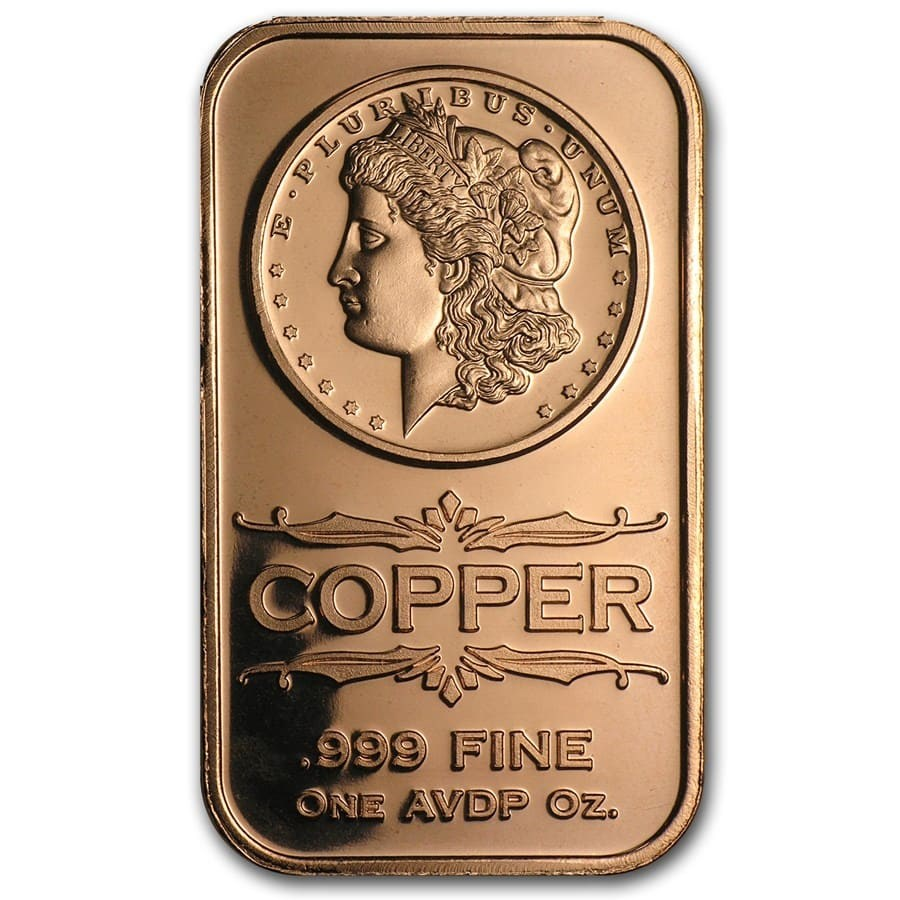 1 oz Copper Bar - Morgan Dollar