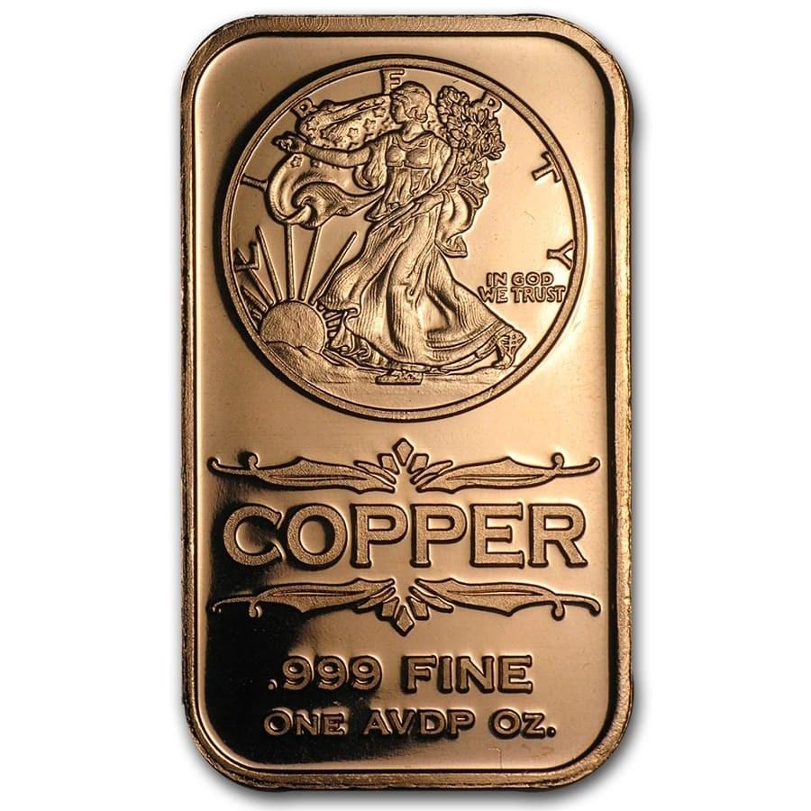 1 oz Copper Bar - Walking Liberty