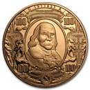 1 oz Copper Round - $100 Benjamin Franklin Banknote Replica