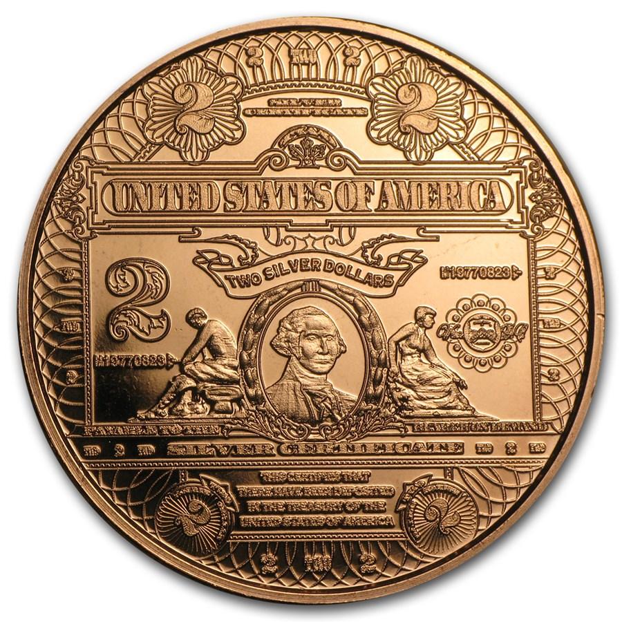 1 oz Copper Round - $2.00 Washington Banknote Replica