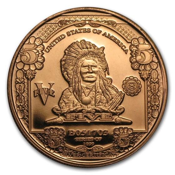 1 oz Copper Round - $5.00 Indian Chief Banknote Replica