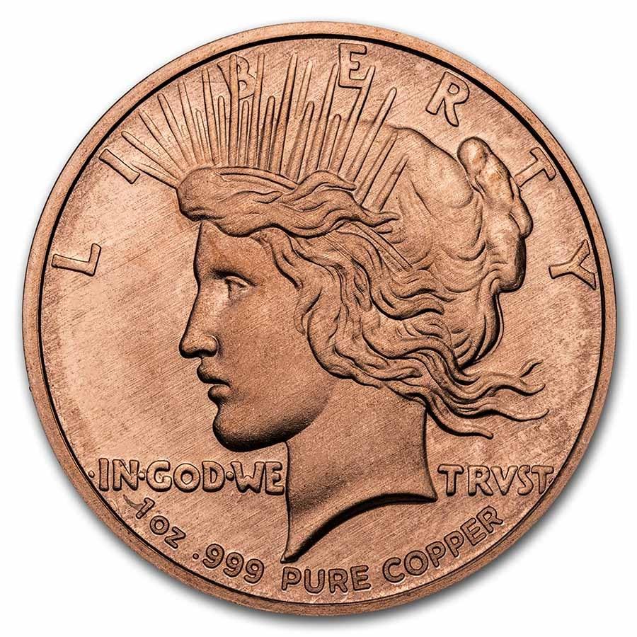 1 oz Copper Round - 9Fine Mint (Peace Dollar)