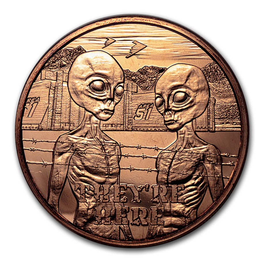 """1 oz Copper Round - Area 51 """"They're Here"""""""