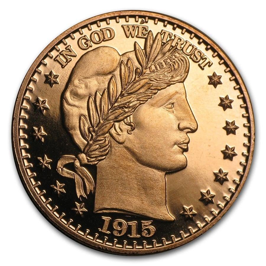 1 oz Copper Round - Barber Half Dollar