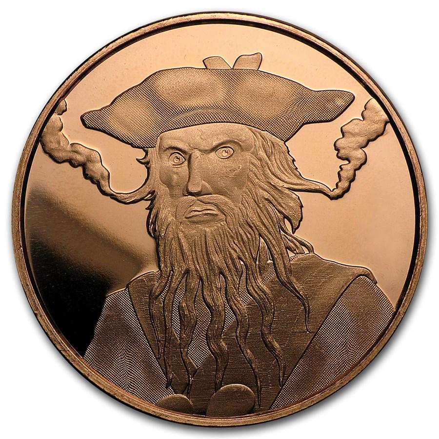 1 oz Copper Round - Blackbeard (Anonymous Mint)