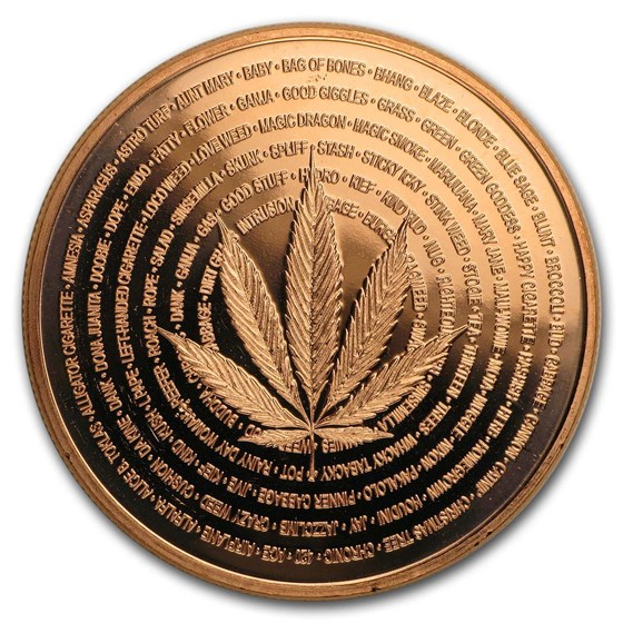 1 oz Copper Round - Cannabis (Nature's Holiday)
